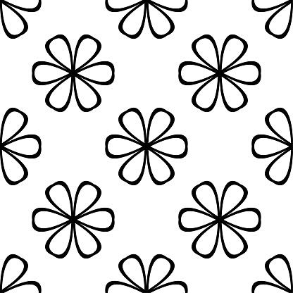 Black Floral Seamless Pattern On White Background - Arte vetorial de stock e mais imagens de Abstrato