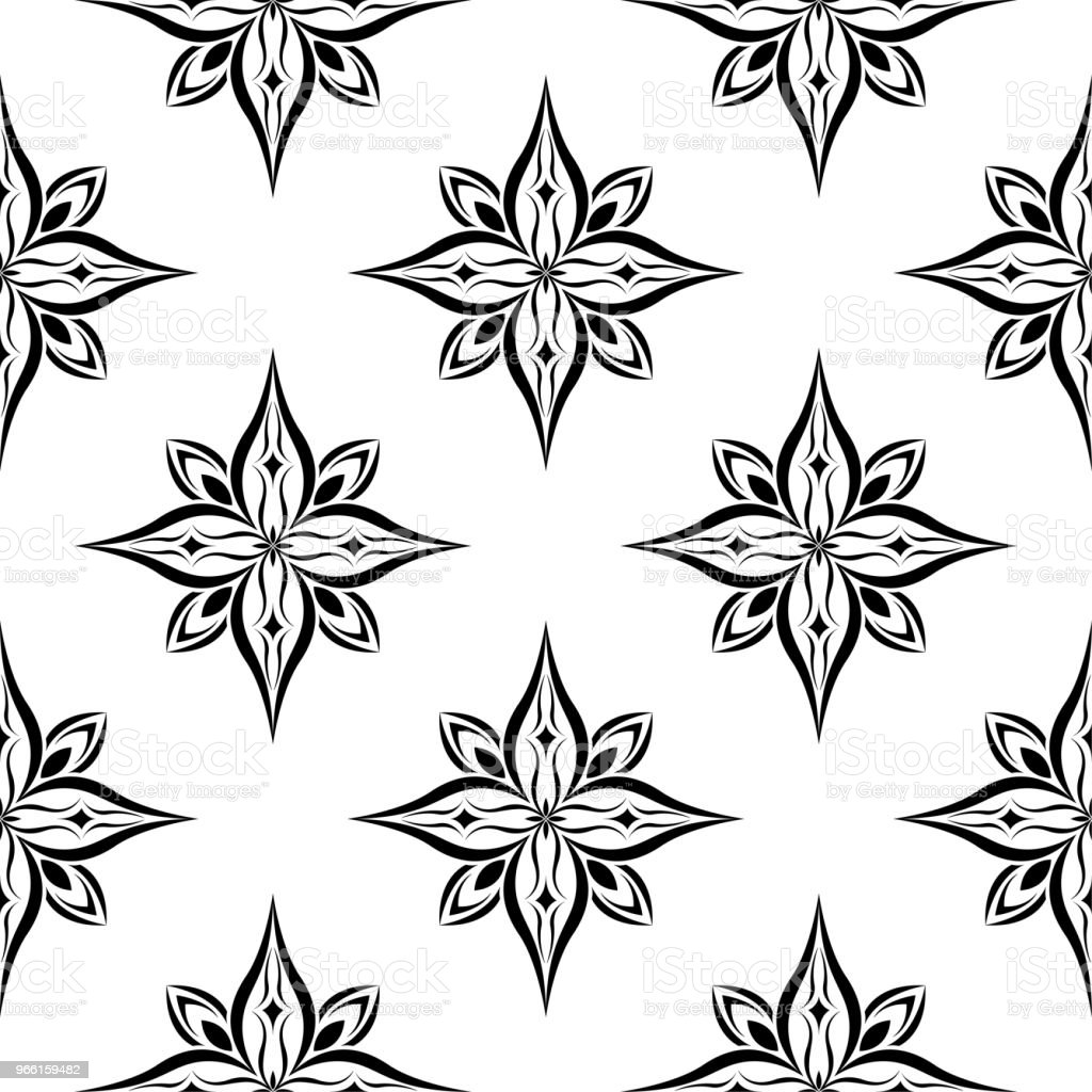 Black floral seamless pattern on white background - Royalty-free Abstract stock vector