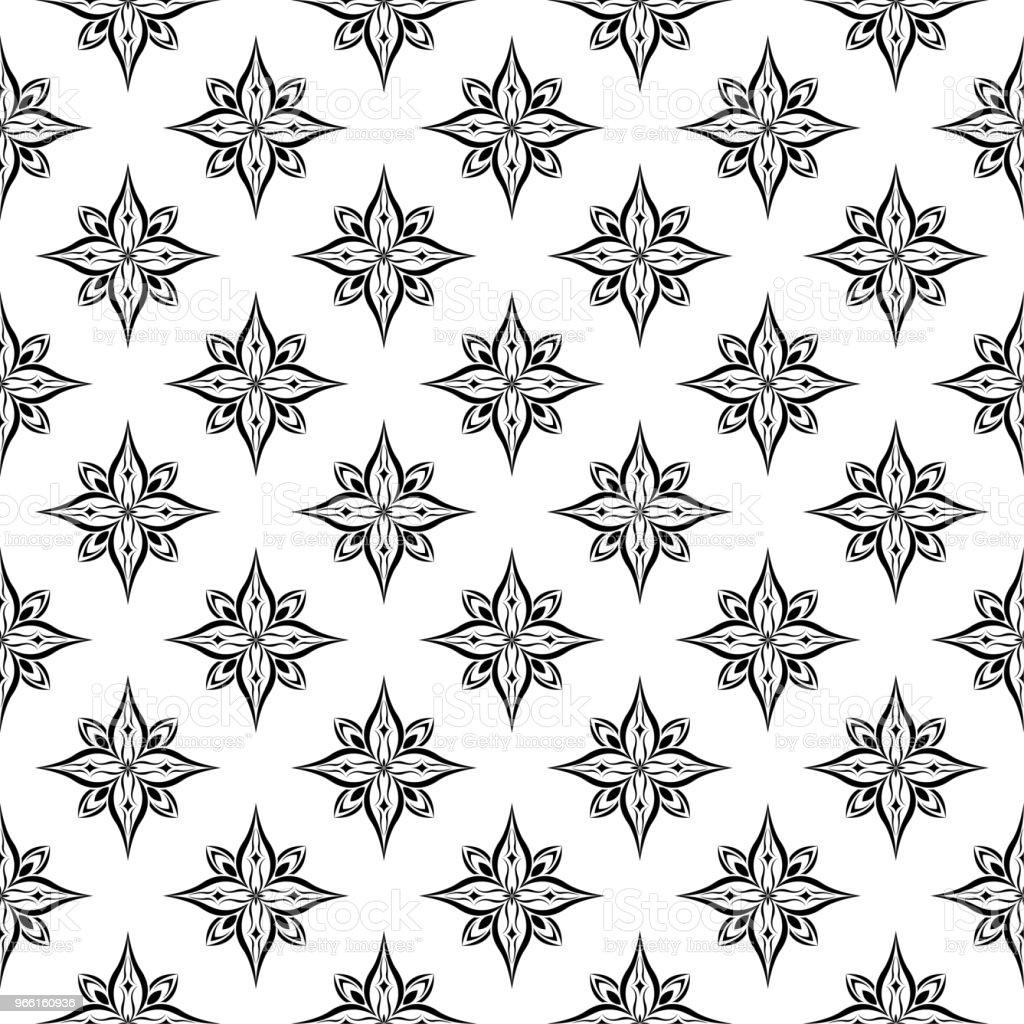 Sömlös svart blommönster på vit bakgrund - Royaltyfri Abstrakt vektorgrafik