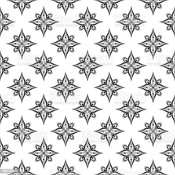 Sömlös Svart Blommönster På Vit Bakgrund-vektorgrafik och fler bilder på Abstrakt