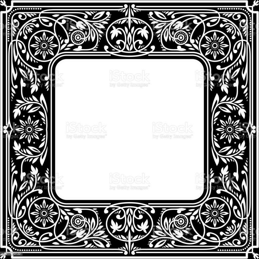 Svart blommig fyrkantig Frame.White utrymme i centrum vektorkonstillustration