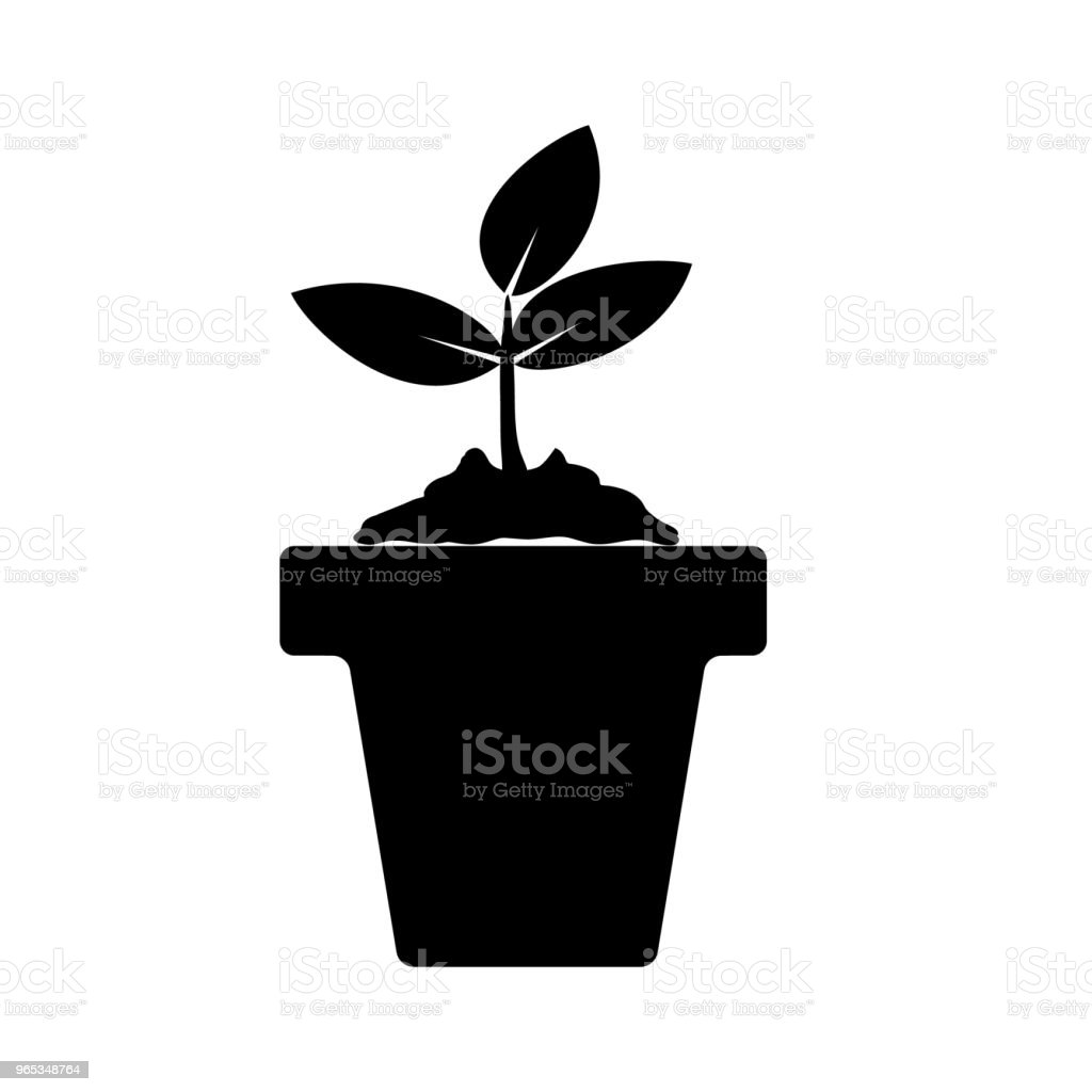 Black flower icon. Plant pot. Gardening plant. Isolated on white background. Vector illustration. black flower icon plant pot gardening plant isolated on white background vector illustration - stockowe grafiki wektorowe i więcej obrazów bez ludzi royalty-free