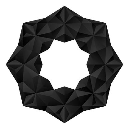 3D Black Flower Origami Mandala Style, 8-pointed Geometric Shape
