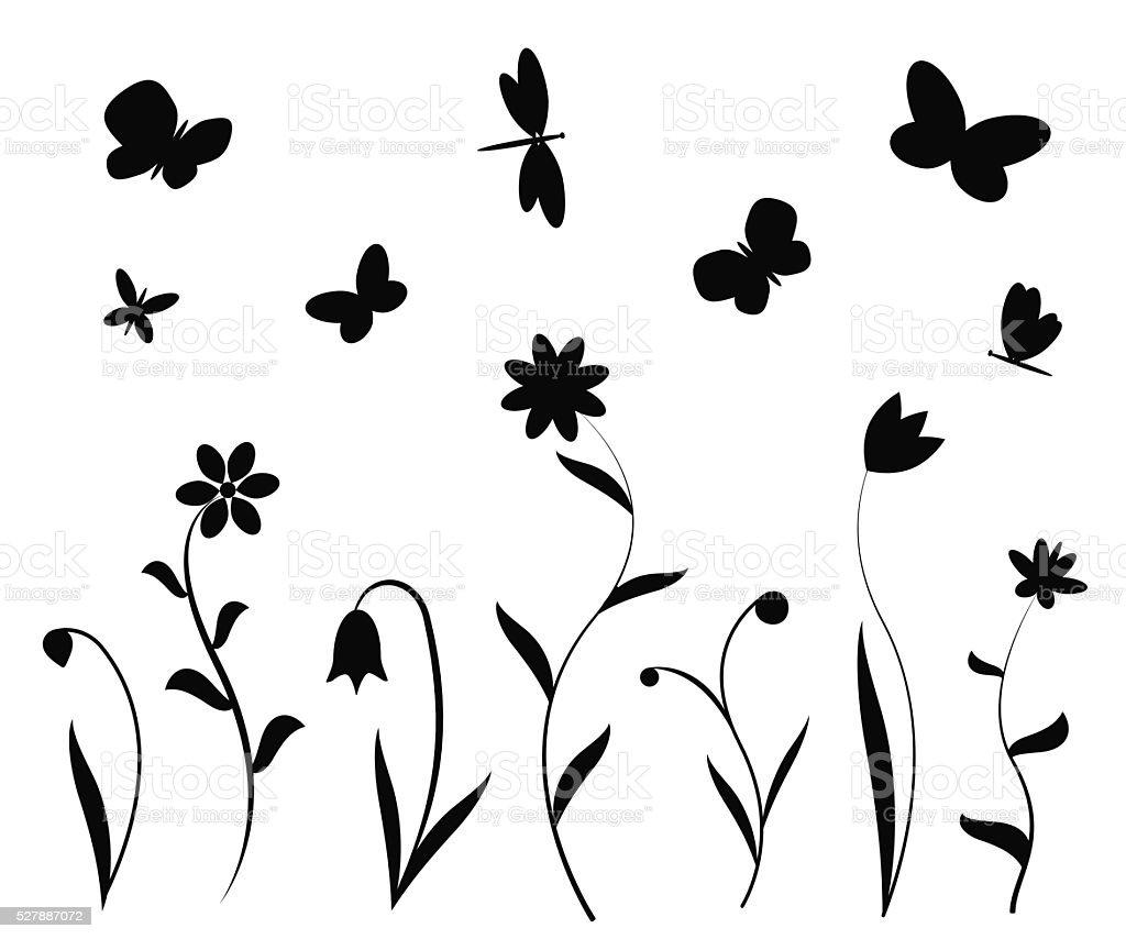 black flowers butterflies and dragonflies stock vector art