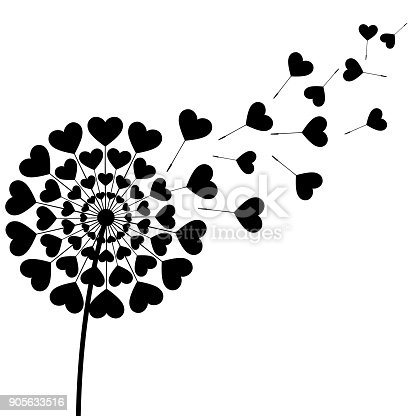 Beautiful stylized black dandelion blowing isolated on white background. Floral stylish trendy wallpaper with summer or spring flower and flying fluff heart shaped. Modern love backdrop. Vector illustration
