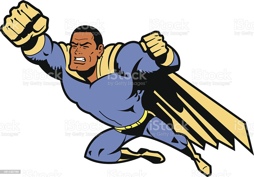 Black Flying Superhero With Clenched Fist vector art illustration