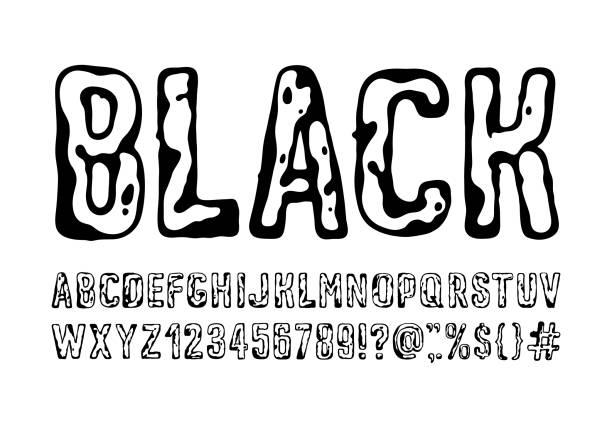 schwarzes Schriftalphabet – Vektorgrafik