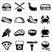 Food types. All white strokes and shapes are cut from the illustrations.
