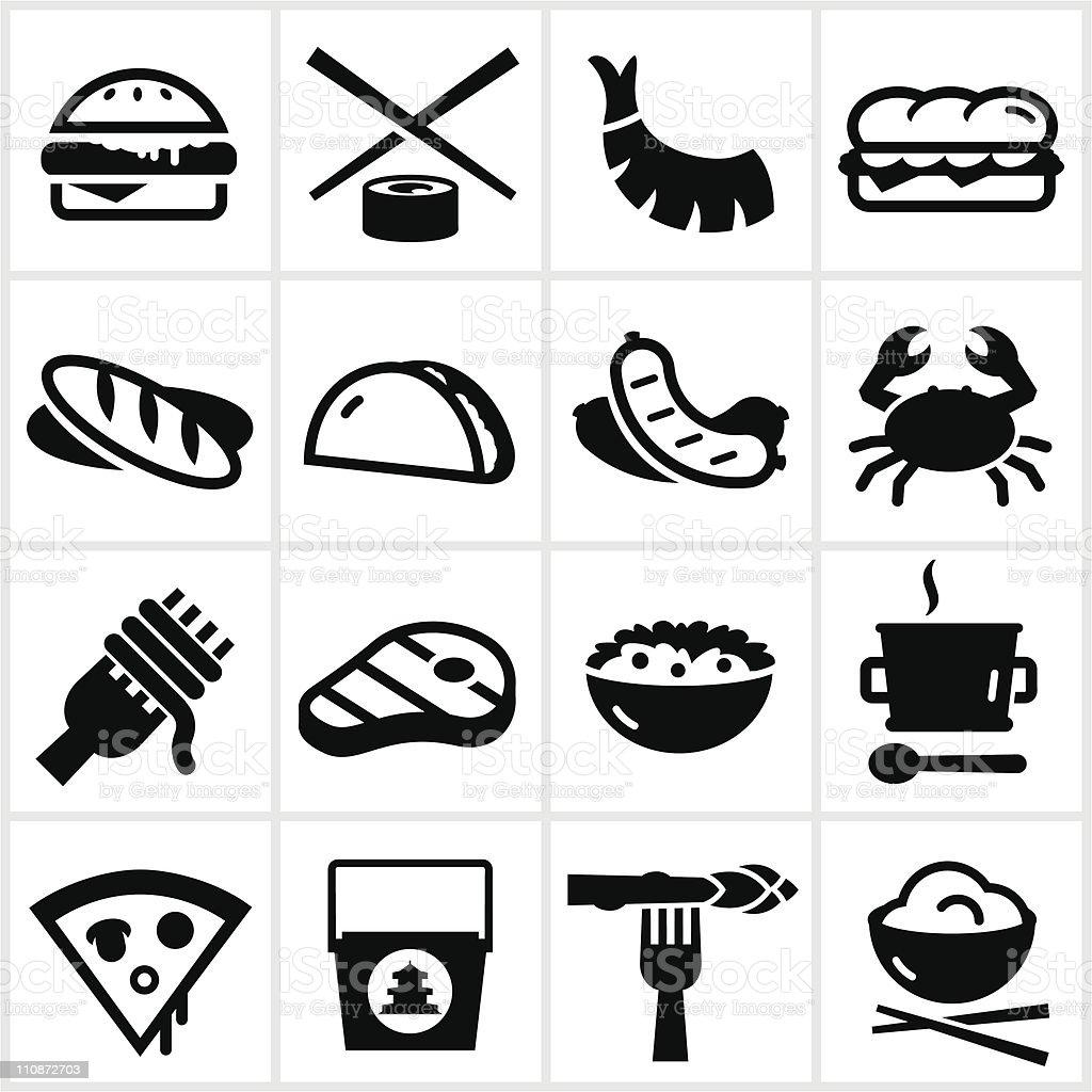 Icônes de Type alimentaire noir - Illustration vectorielle