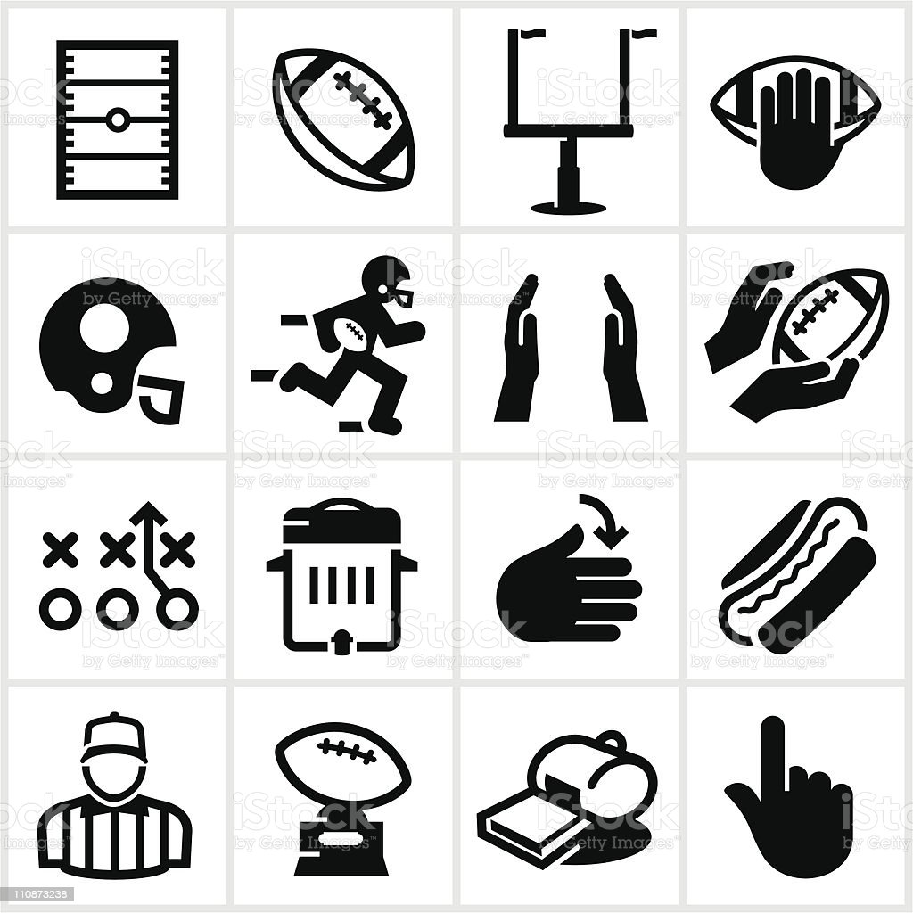 Black Football Icons royalty-free black football icons stock vector art & more images of american football - ball