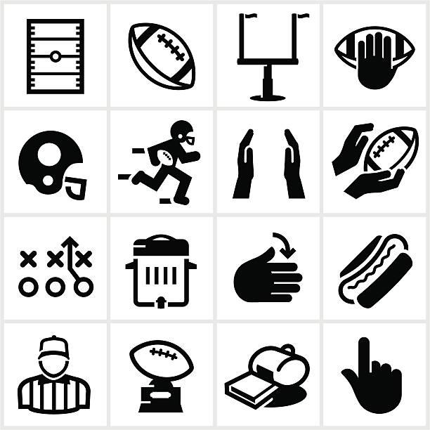 ilustrações de stock, clip art, desenhos animados e ícones de preto ícones de futebol - primeiro down futebol americano