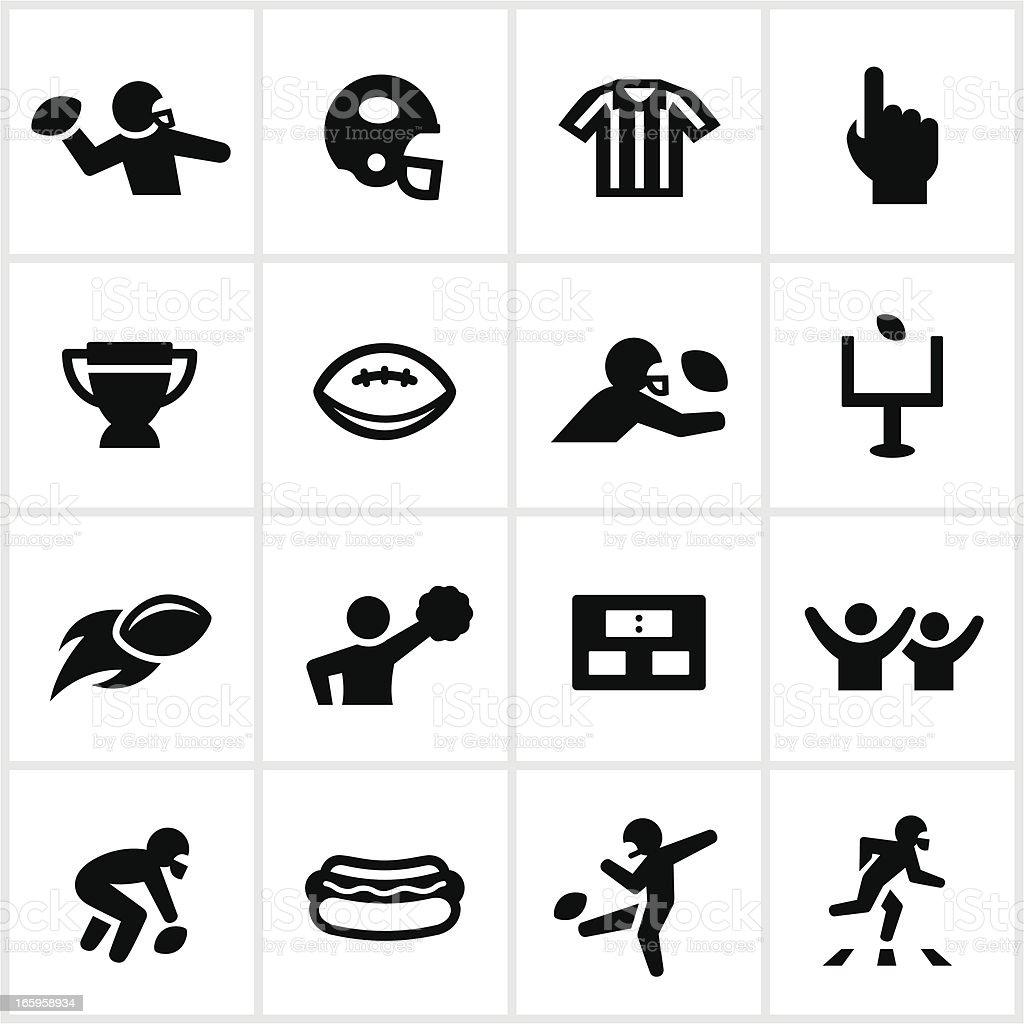 Black Football Icons vector art illustration