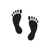 Footprint on isolated white background