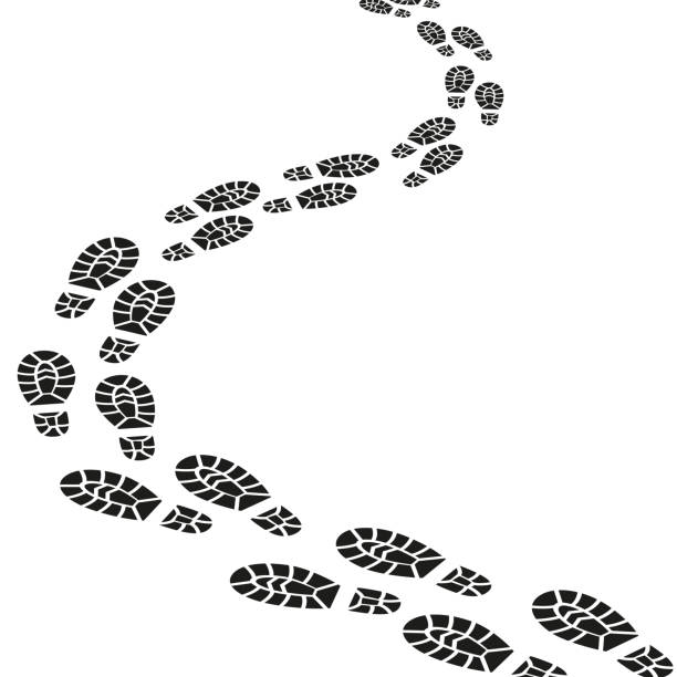 schwarze spuren silhouette set. vektor - kinderstiefel stock-grafiken, -clipart, -cartoons und -symbole
