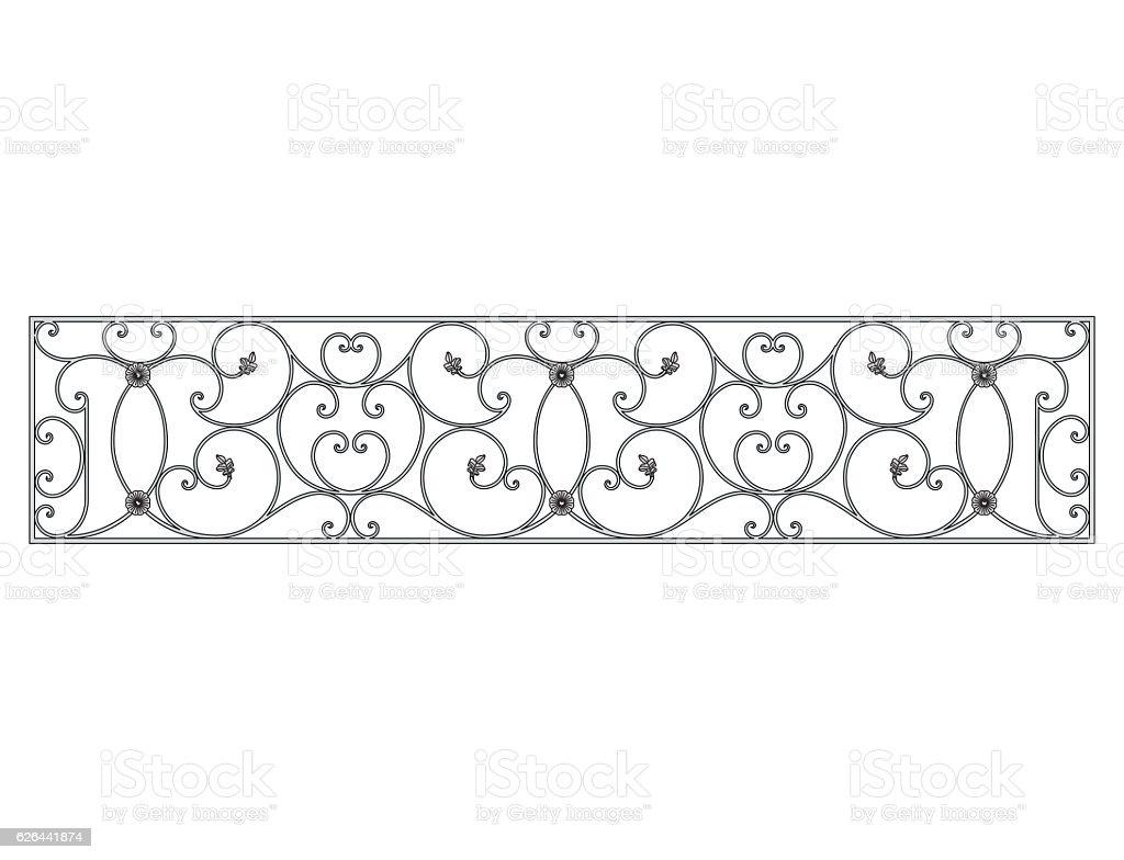 Black forged decorative lattice isolated on white background vector art illustration