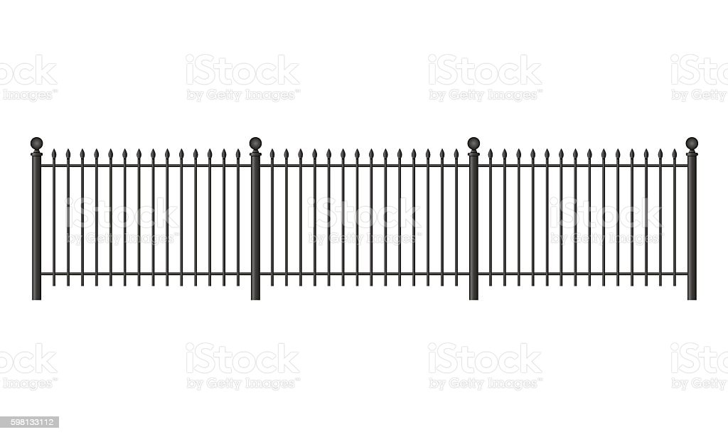 Black forged lattice fence vector art illustration