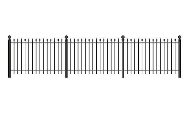 stockillustraties, clipart, cartoons en iconen met black forged lattice fence - fence