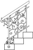 Black forged metal railings with floral motifs