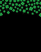 Vector illustration of a black background with green four leaf clover on the top section.