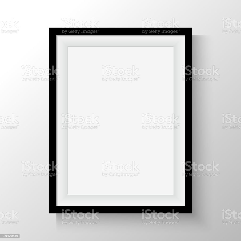 Black frame for paintings or photographs on the wall. vector art illustration