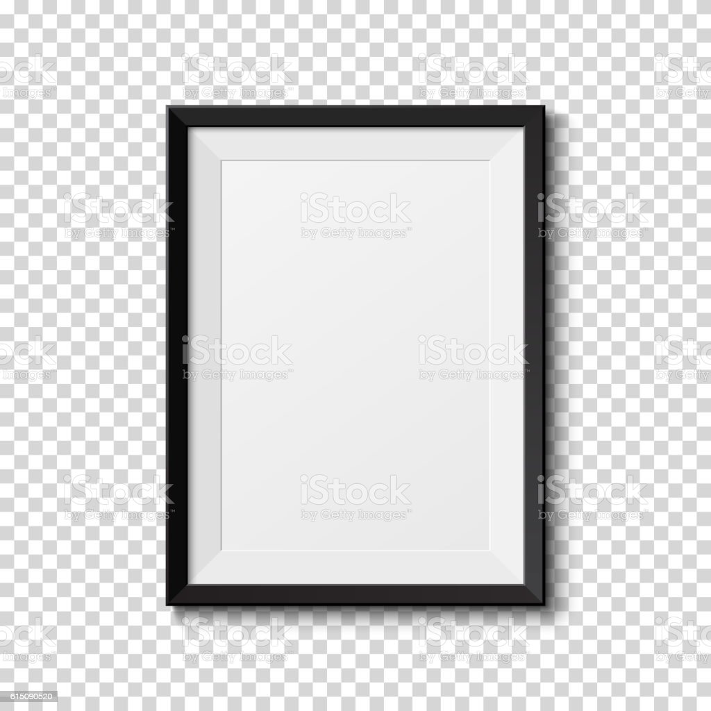 Black frame isolated on transparent background. vector art illustration