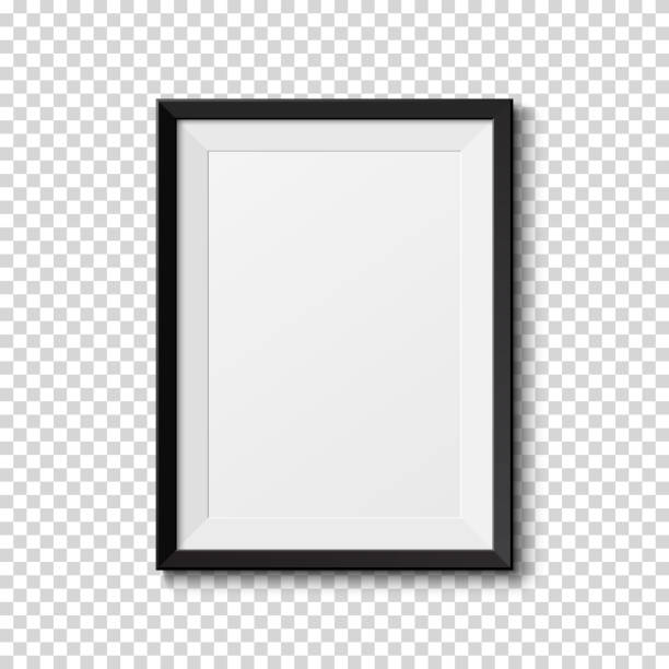 black frame isolated on transparent background. - picture frame borders stock illustrations, clip art, cartoons, & icons