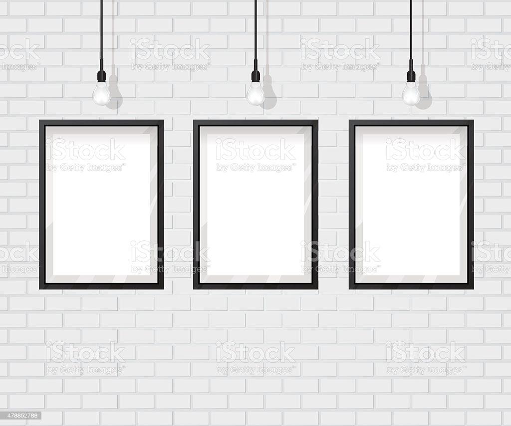 Black frame on brick wall vector art illustration
