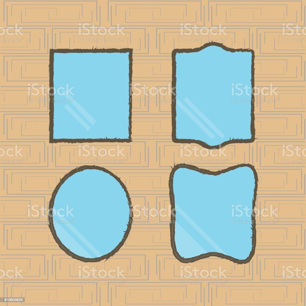 Black Frame Vector Mirrors Set Over Brick Wall Flat Design ...