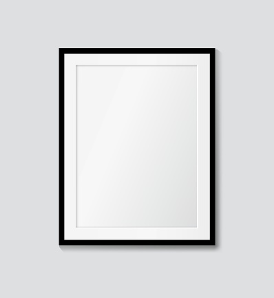 Black frame with passepartout on the wall. Vector picture frame mock up