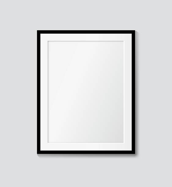 ilustrações de stock, clip art, desenhos animados e ícones de black frame with passepartout on the wall. vector picture frame mock up - white wall