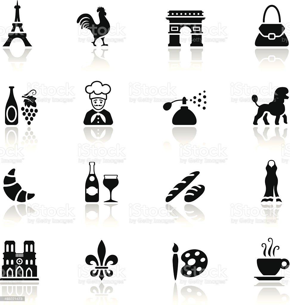 Conjunto de ícones pretos França - ilustração de arte em vetor