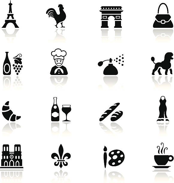 Black France Icon Set High Resolution JPG,CS6 AI and Illustrator EPS 10 included. Each element is named,grouped and layered separately. Very easy to edit.  french culture stock illustrations