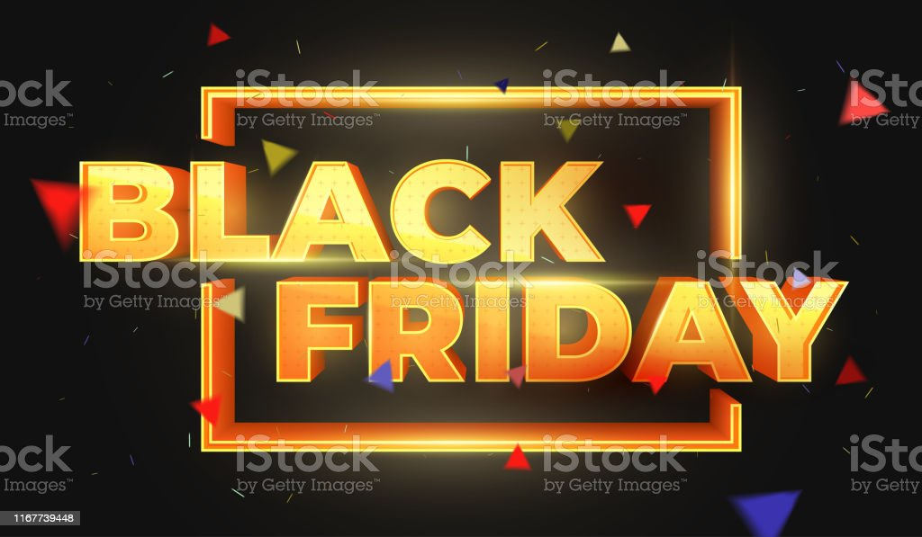 Black Friday 3D text. Sale banner template design. Beautiful discount and promotion banner. Letters with highlights and sparks. Luxury Golden 3D text. Design element for sale banners, posters, cards Abstract stock vector
