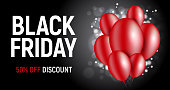 Black Friday Vector background with red balloons and bokeh on black background
