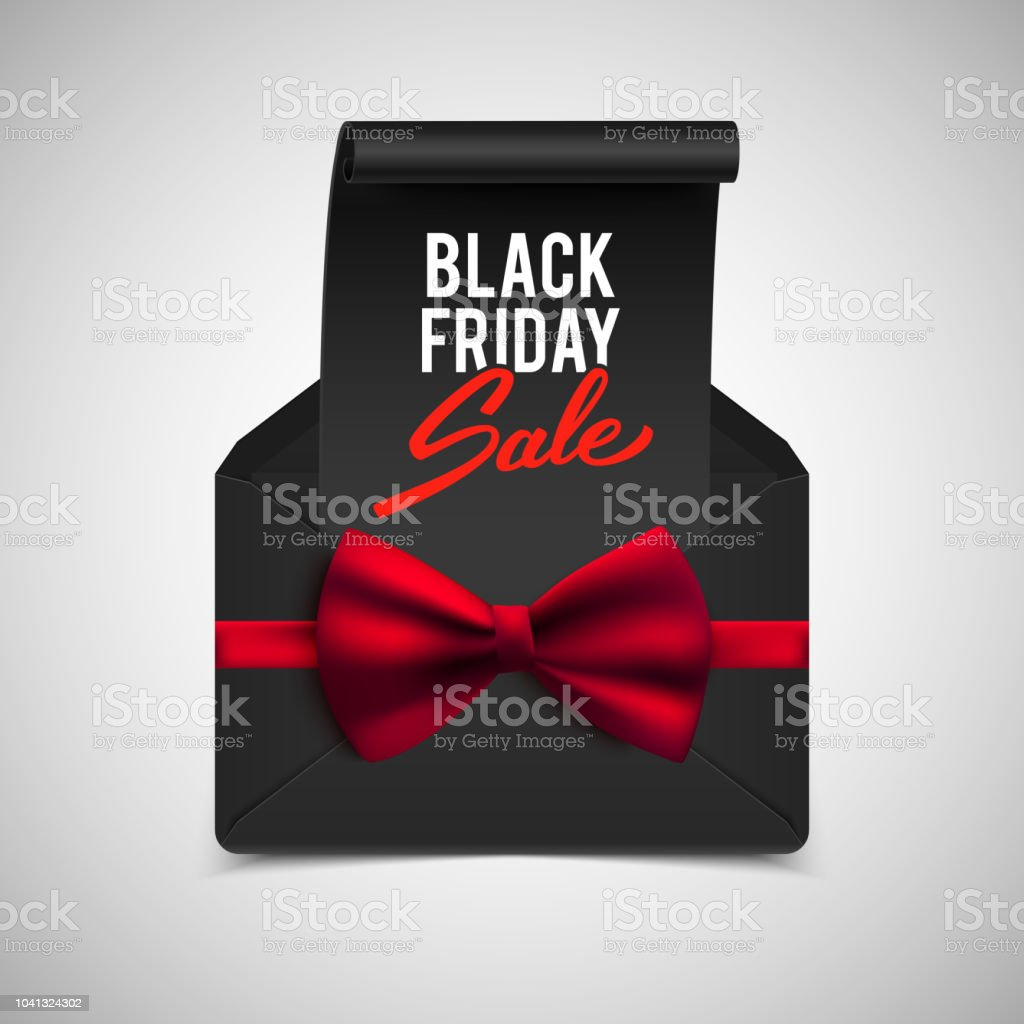 black friday advertisement banner envelope with red bow vector illustration royalty free black