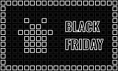 black friday advertising banner, mosaic card with gift box and letters