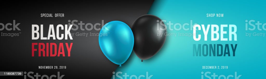 Black Friday and Cyber Monday banner long narrow header for website. 3d black and blue realistic balloons and sale text. Stock vector illustration. - Royalty-free Black Friday arte vetorial
