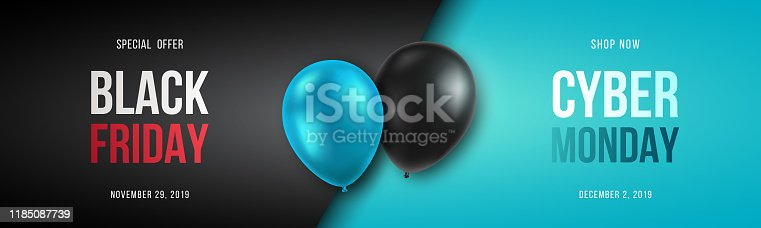 Black Friday and Cyber Monday banner long narrow header for website. 3d black and blue realistic balloons and sale text. Stock vector illustration.