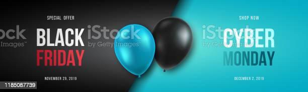 Black Friday And Cyber Monday Banner Long Narrow Header For Website 3d Black And Blue Realistic Balloons And Sale Text Stock Vector Illustration - Arte vetorial de stock e mais imagens de Black Friday