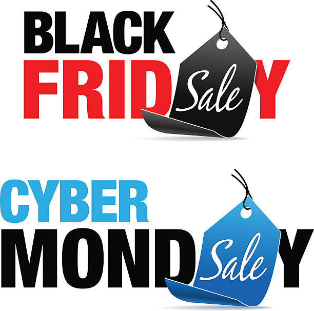black friday and cyber monday sale - cyber monday stock illustrations