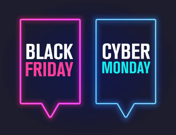 black friday and cyber monday, vector illustration - cyber monday stock illustrations