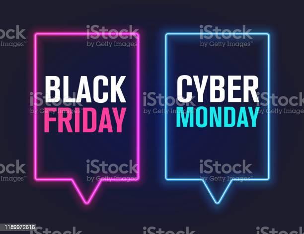Black Friday And Cyber Monday Vector Illustration — стоковая векторная графика и другие изображения на тему Black Friday