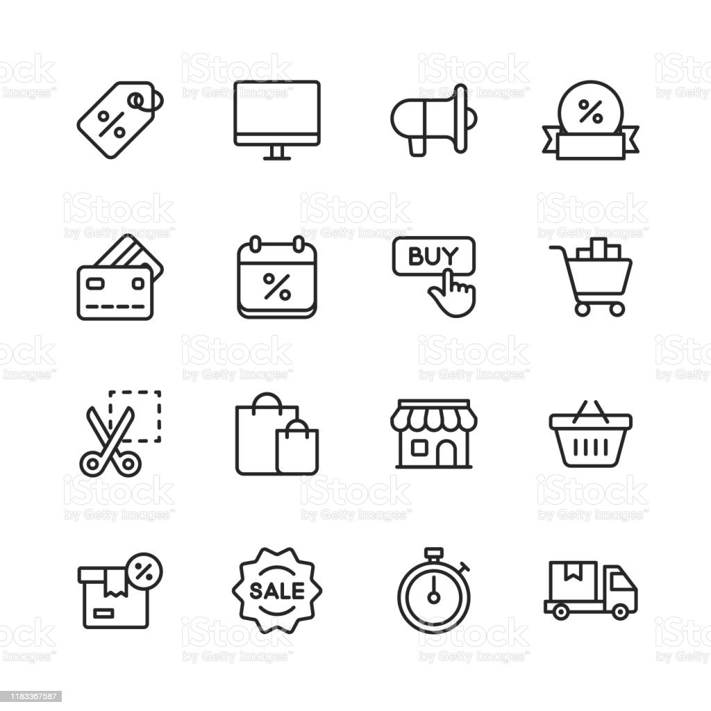 Black Friday and Shopping Icons. Editable Stroke. Pixel Perfect. For Mobile and Web. Contains such icons as Black Friday, E-Commerce, Shopping, Store, Sale, Credit Card, Deal, Free Delivery, Discount. - Royalty-free Apoio arte vetorial