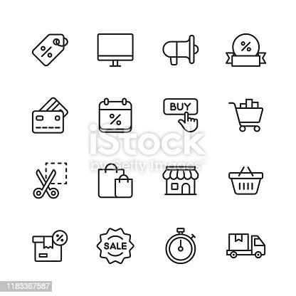16 Black Friday and Shopping Outline Icons.