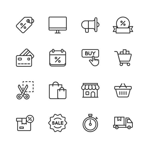 czarny piątek i ikony zakupów. edytowalny obrys. pixel perfect. dla urządzeń mobilnych i sieci web. zawiera takie ikony jak czarny piątek, e-commerce, zakupy, sklep, sprzedaż, karta kredytowa, oferta, bezpłatna dostawa, zniżka. - handel detaliczny stock illustrations