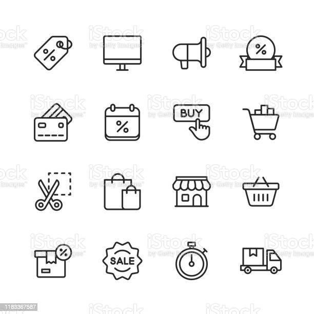 Black Friday And Shopping Icons Editable Stroke Pixel Perfect For Mobile And Web Contains Such Icons As Black Friday Ecommerce Shopping Store Sale Credit Card Deal Free Delivery Discount - Arte vetorial de stock e mais imagens de Apoio