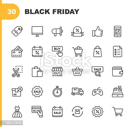 30 Black Friday and Shopping Outline Icons.