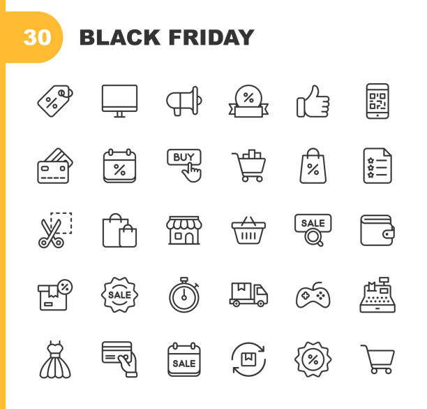 Black Friday and Shopping Icons. Editable Stroke. Pixel Perfect. For Mobile and Web. Contains such icons as Black Friday, E-Commerce, Shopping, Store, Sale, Credit Card, Deal, Free Delivery, Discount. vector art illustration