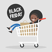 Black Friday Annual Sale Event. Young black girl having fun during the Black Friday sale. Sitting in the shopping cart. Big Fall Sale. Lifestyle concept. Shopping. Flat vector illustration, clip art