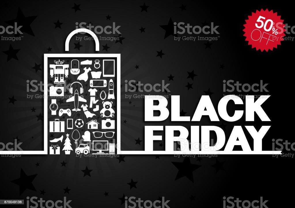 Black Friday background [Goods in paper bag] vector art illustration